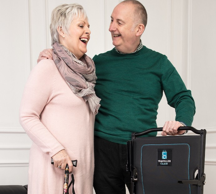 Richard with wife Jane with Traveller Chair